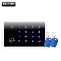 K16 teclado de toque sem fio rfid para pstn gsm alarme segurança pessoal casa sistema alarme 433mhz sem fio senha teclado sistema