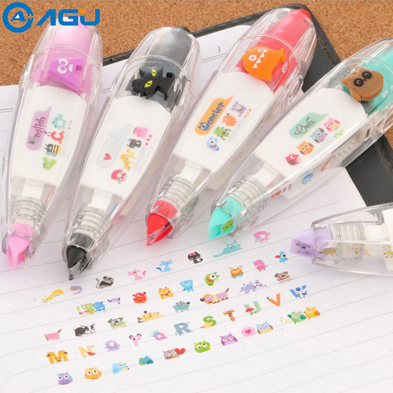 AAGU 1PC New Kawaii Animals Press Type Decorative Correction Tape Diary Stationery School Supply Masking Paper Used For Painting