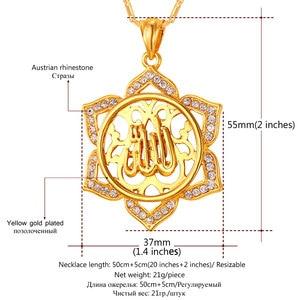 Image 3 - U7 Big Flower Islamic Jewelry Gold Color Rhinestone Crystal Vintage Arabians Allah Necklaces & Pendants For Women Gift P328