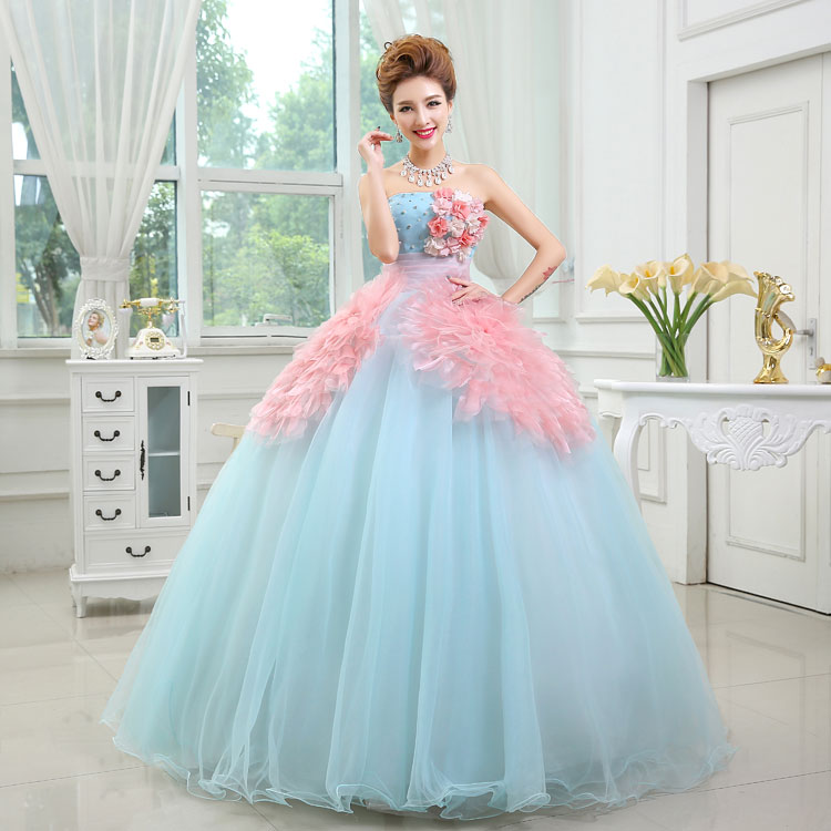 Decorated Flowers Quinceanera Dresses A Line Gown Lace Strapless Puffy 2019 Formal Party Dress Custom Made Quinceanera-mekko