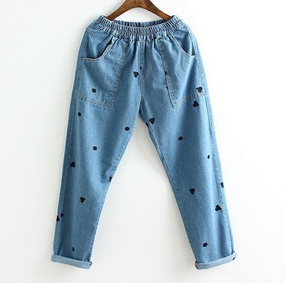 Dot amor bordado denim loose pantalones de cintura Elástica bolsillo de los vaqueros de primavera
