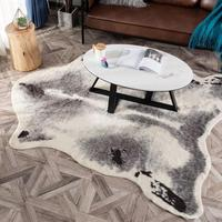 Cowhide rug zebra leopard badger cow carpet faux skin fur villi black bear mat sheep Cushion brown Villus coats large si