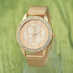 Top Luxury Geneva watch women Brand Men's Watches Ultra Thin Stainless Steel Mesh Band Quartz Wristwatch Fashion diamond clock