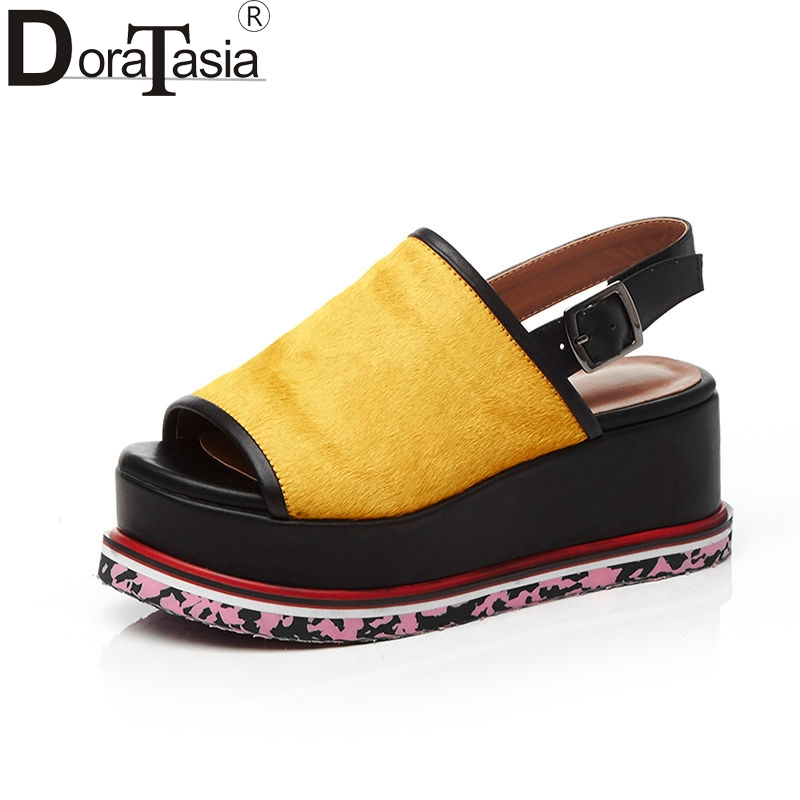 DoraTasia 2018 Summer New Arrival High Quality Genuine Leather Women Sandals Print Sole Thick Platform Casual Shoes Woman bfdadi 2018 new arrival hat genuine