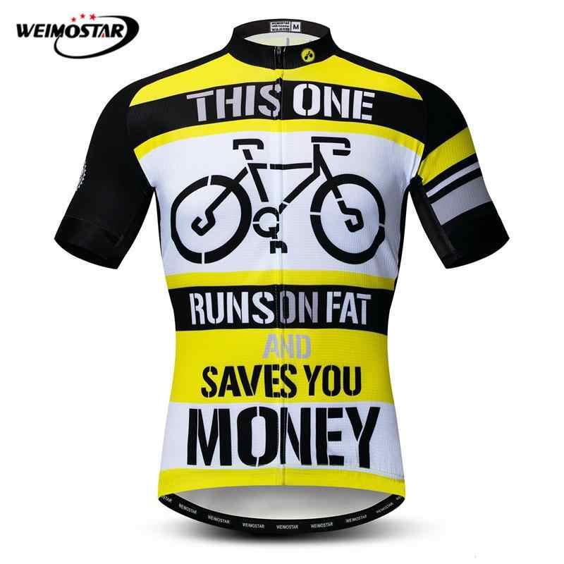 Weimostar Runs On Fat Cycling Jersey Shirt Men Short Sleeve Cycling Clothing  Classic MTB Bike Jersey 296315bcf