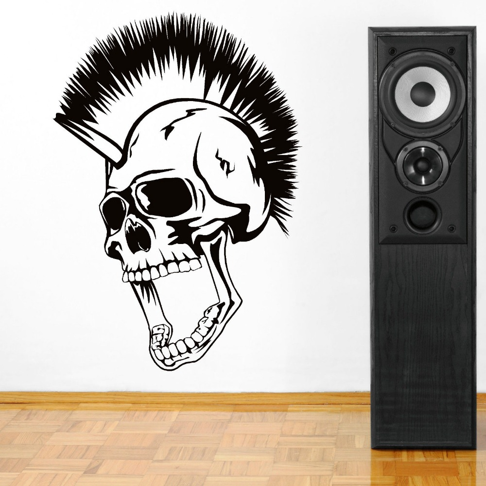 Creative art skull head mohican vinyl wall art sticker high creative art skull head mohican vinyl wall art sticker high quality bedroom decoration wall paper diy vinyl curved wall d 29 in wall stickers from home amipublicfo Gallery