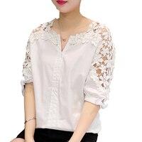 Camisas Femininas 2017 White Shirt Women Tops Hollow Out Flowers Cotton Lace Blouse Moda Mujer Korean