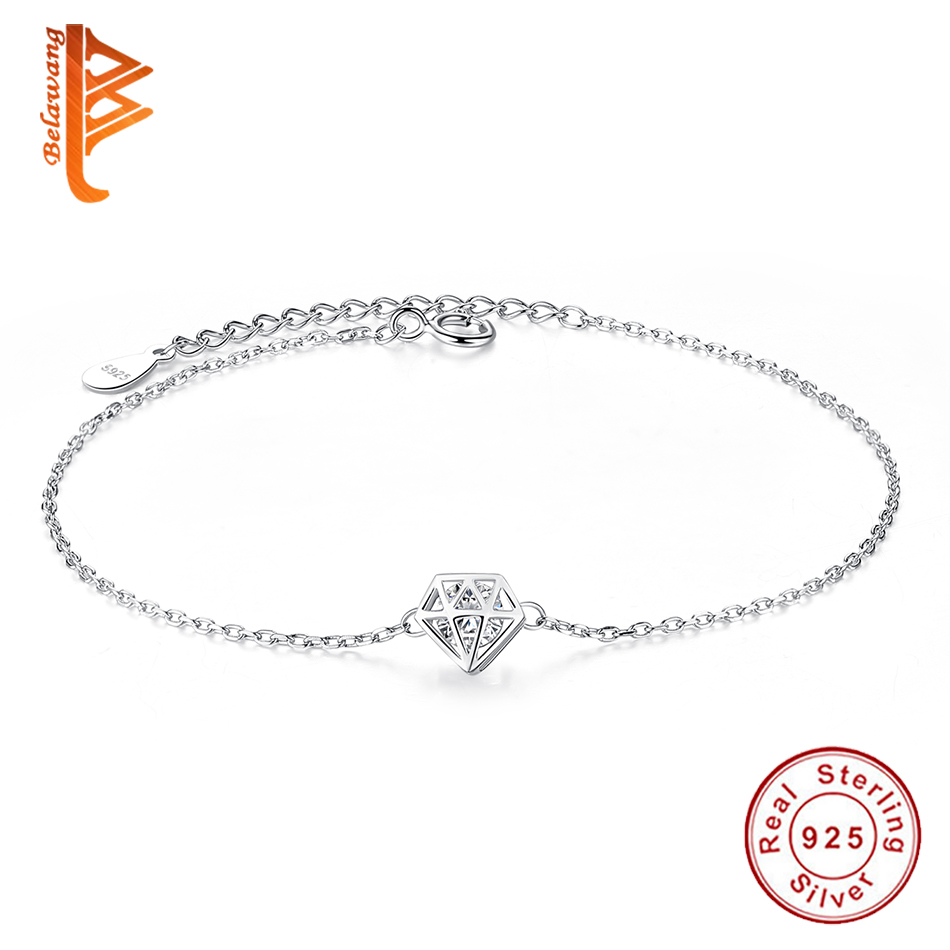 Original 925 Sterling Silver Bracelet For Women Geometric Hollow Round Clear Zircon Crystal Charm Bracelets Fashion Jewelry Gift