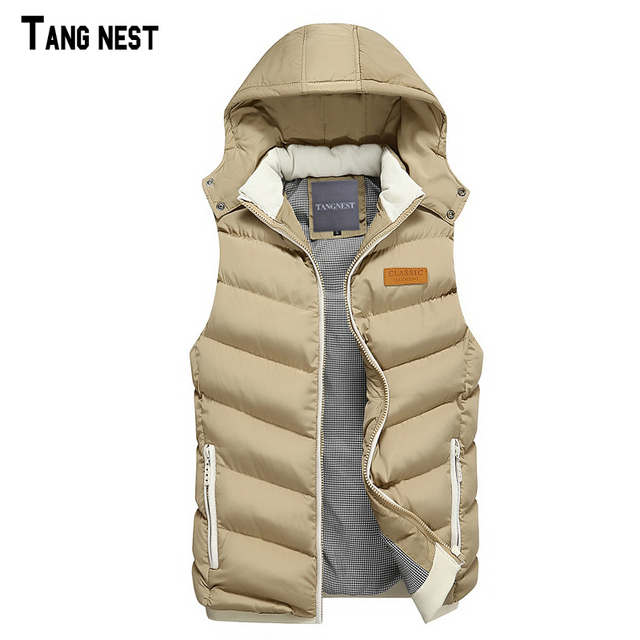 TANGNEST Men's Vest 2017 New Arrival Men Casual Solid Sleeveless Coats Male Hooded Cotton-Padded Thickening Waistcoat MWB250
