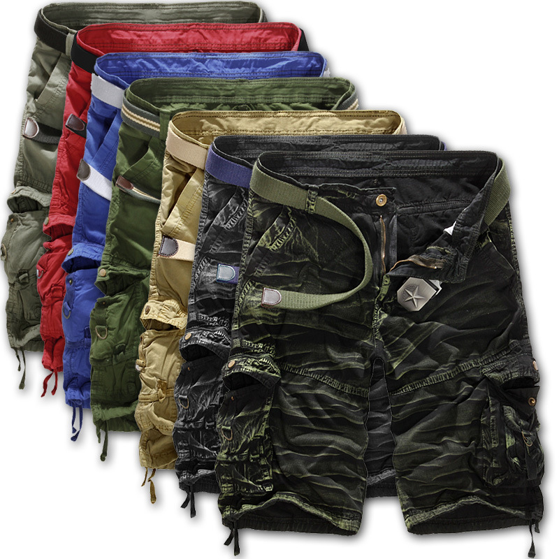 Pria Kamuflase Berkemah Celana Panjang Baggy Multi-saku Memakai pria Pakaian Olahraga Celana Pendek 100% Katun Celana Pantai