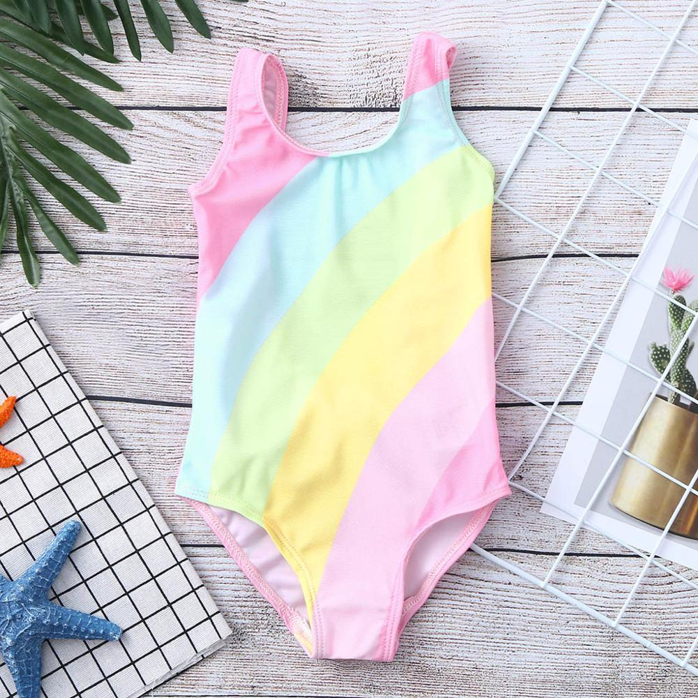 2019 Children Swimsuit Girls One Piece Children's Sleeveless Summer Backless Bow Rainbow Striped Swimsuit One Piece Playa BebeA1