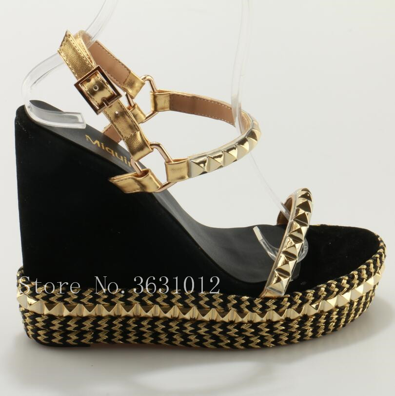 2018 Newest Summer Style Cane Wedges High Heel Platsform Straw Braid Women Sandals Rivets Studs Ankle Buckle Sapatos Shoes Woman