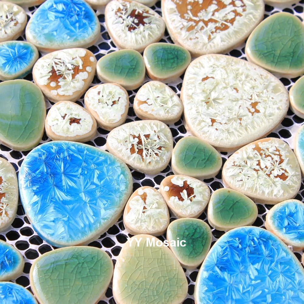 Mittelmeer Blau Grün Fambe Keramik Mosaik Fliesen, Dusche Garten Schwimmbad  Boden Fliesen, 3D DIY Hauptdekor Tapete, Wandaufkleber In Mittelmeer Blau  Grün ...