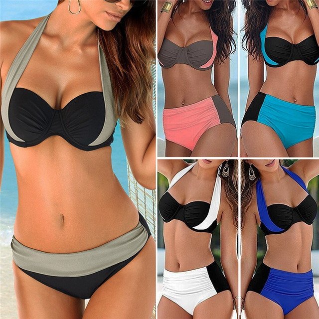 b033e61b71b 2018 New Sexy Bikinis Swimsuit Women s High Waist Swimsuits Swim Suits  Halter Push Up Bikini Set Plus Size Swimwear