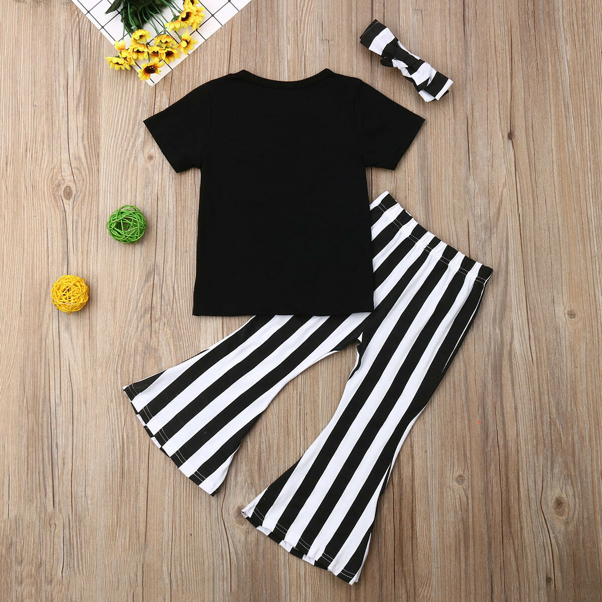 3Pcs Kids Baby Girl Letter Tops Short Sleeve T shirt Striped Flare Long Pants Sunsuit Outfits Clothes Set 2019 in Clothing Sets from Mother Kids