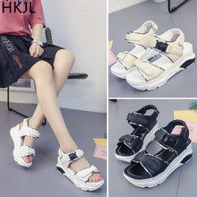 HKJL summer 2019 new thick bottom fashion sandals Korean version of muffins with student flat casual wedges A002