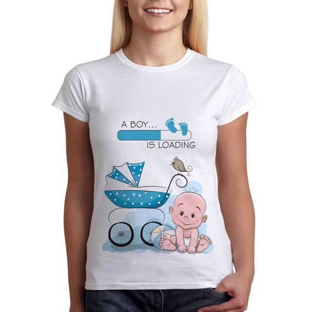 cf4bfc2229206 Funny Pregnancy T-Shirt Baby Boy Is Loading Maternity Clothes Tees Perfect  Gift T Shirt New Fashion Funny Brand Harajuku