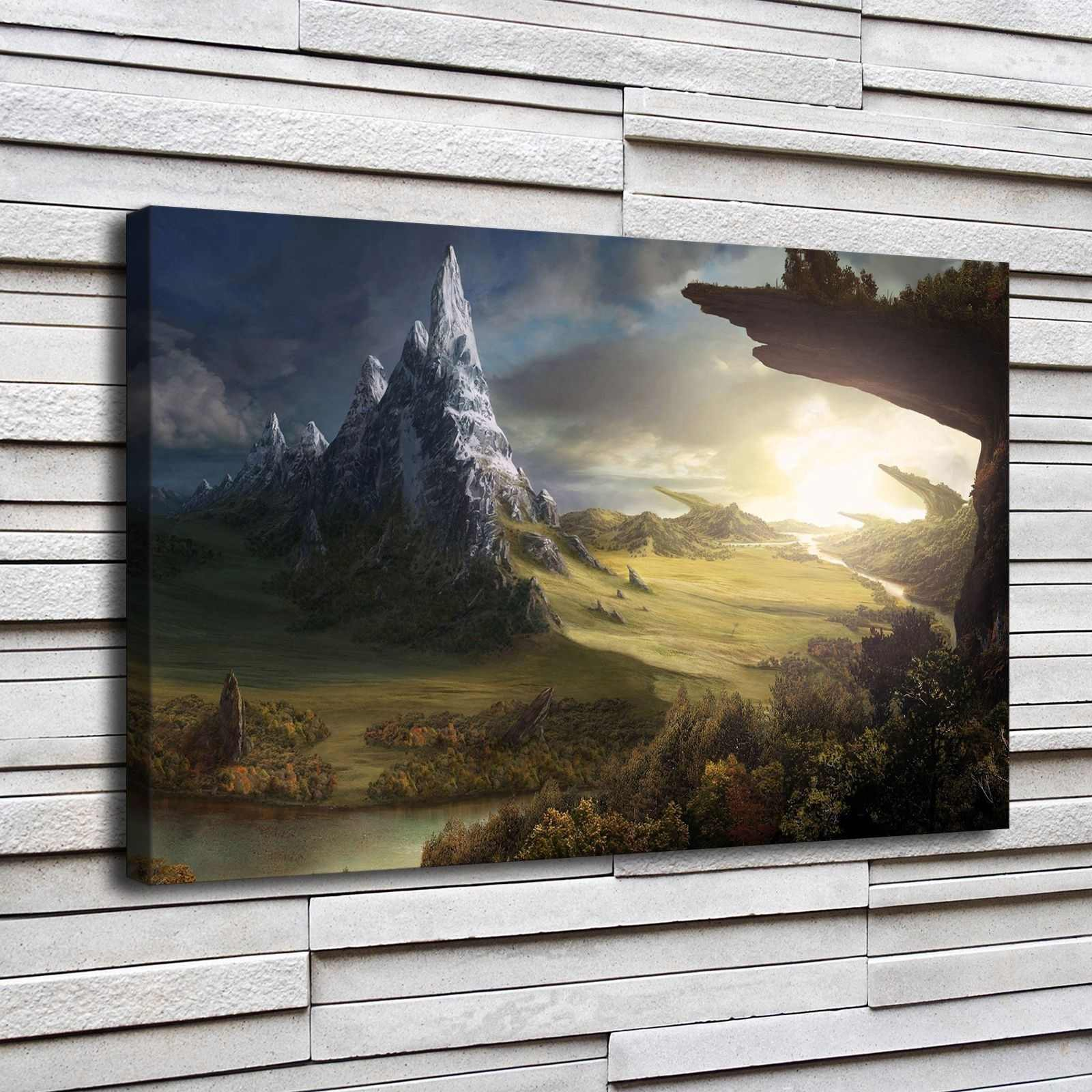 Canvas Prints Pictures Home Decor 1 Piece Dark Fantasy Mountains Nature Landscape Painting Abstract Poster Living Room Wall Art
