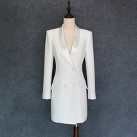Весна осень женский белый формальный Блейзер длинная куртка сатиновая шаль воротник двубортный офисный женский офисный приталенный Блейз