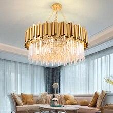 Candelabro de cristal dorado redondo de lujo, iluminación moderna para sala de estar, comedor, zyrandol, LED, lámpara colgante, candelabros de cocina