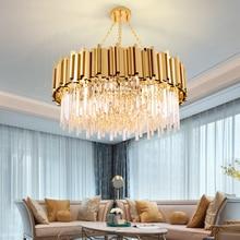 מודרני יוקרה עגול זהב קריסטל נברשת תאורה לסלון חדר אוכל חדר zyrandol LED תליית מנורת מטבח נברשות