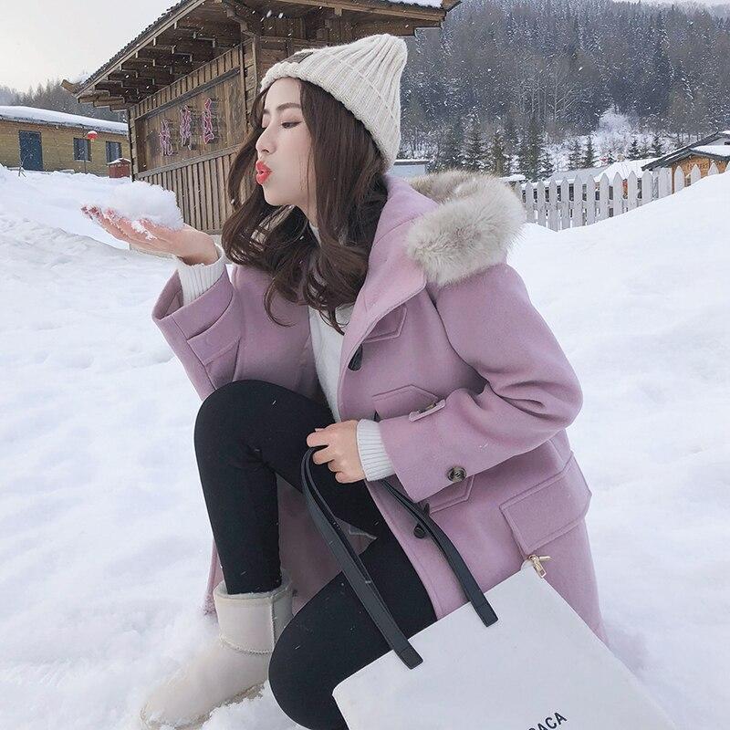 Casaco Long Lavande Col Fourrure En Lâche Pardessus De Bouton 2019 D'hiver Femmes Feminino Laine Veste Capuche Corne Nouvelle Avec Artificielle TqOvqHn