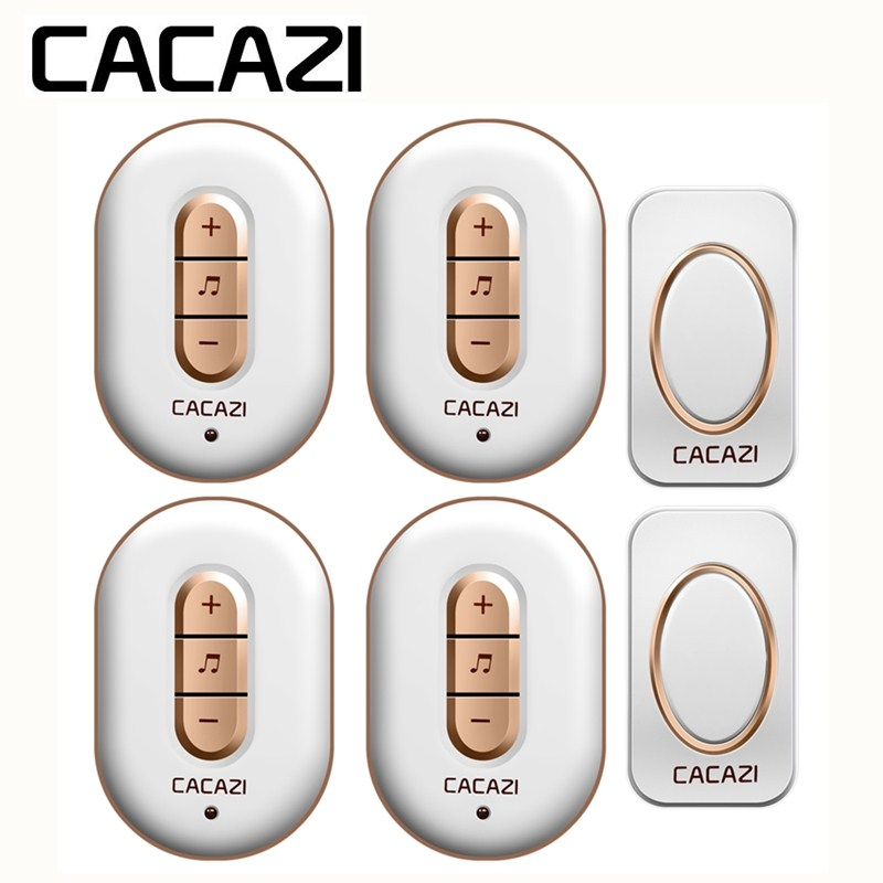 CACAZI US EU UK AU Plug 300M Remote Doorbell 48 Song Wireless LED 12V23A Battery 110-220V Smart Waterproof Intelligent Household cacazi waterproof cover wireless doorbell ring 300m remote eu au uk us plug home smart door bell 110v 220v 2 button 3 receivers page 6
