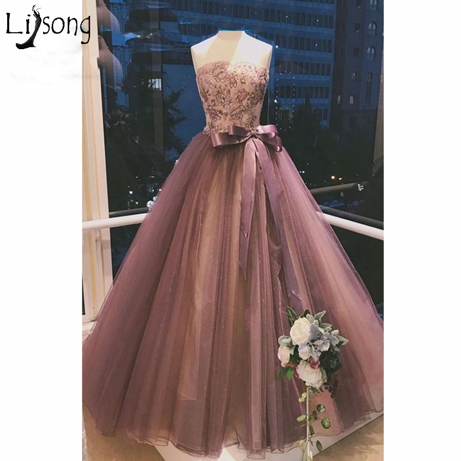 2018 Strapless Prom Dresses Long Vestidos de fiesta Lace Up Appliques Ribbons Tulle Women's Prom Dress Elegant Evening Gowns