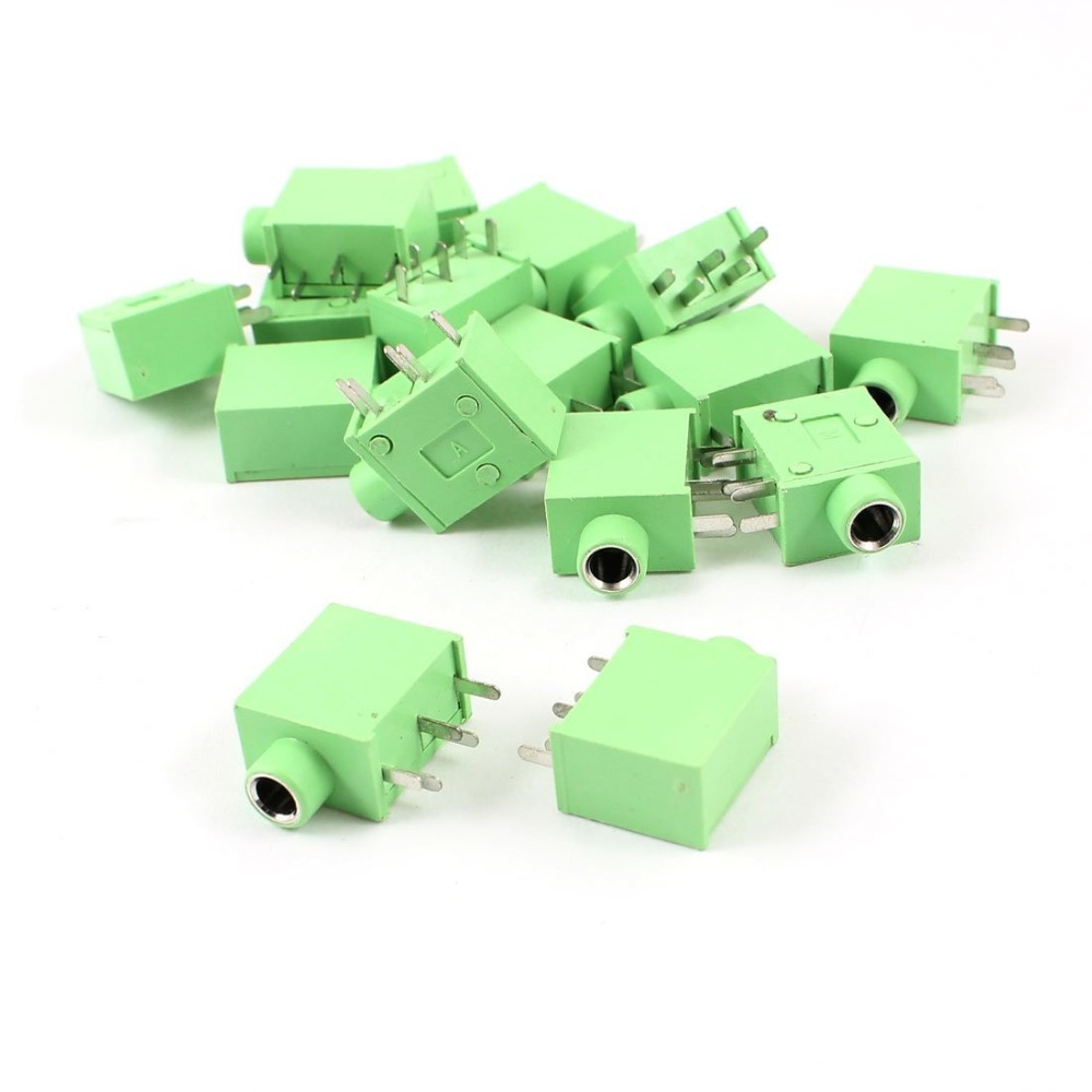 hight resolution of 20pcs green 5pin 3 5mm female audio stereo socket pc pcb panel mount soldering connector in connectors from lights lighting on aliexpress com alibaba