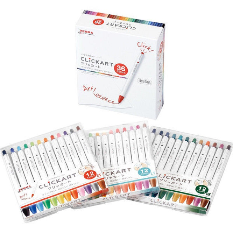 Japan Zebra 36 Colors Clickart Pressed Water-based Watercolor Pen WYSS22 New Arrival