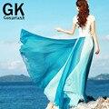 2016 verano nueva costura de la gasa trapear grandes faldas oscilantes playa bohemia de las mujeres de Tulle blanco de encaje asimétrico de la falda largas faldas de tul 007