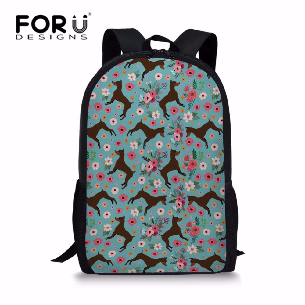 FORUDESIGNS Cute Girls Miniature Pinscher Flower Printing School Bags For Children Primary School Backpack Teenagers Large Bag