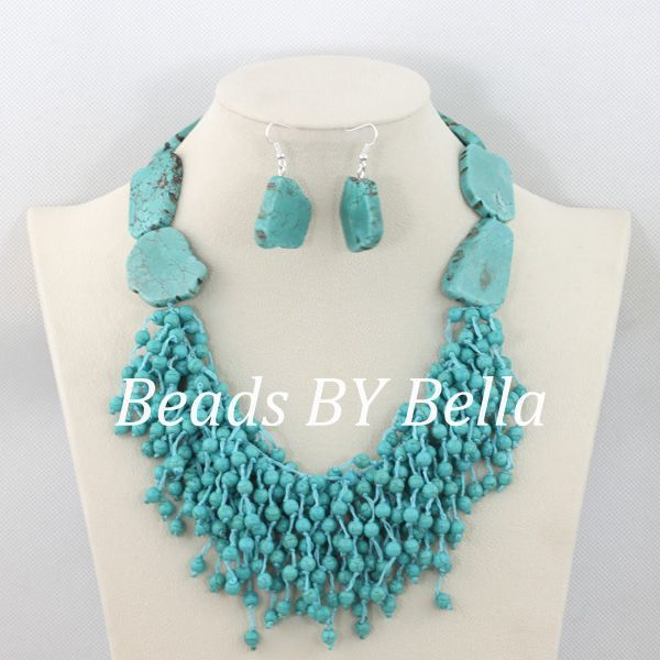 Handmade Necklace Earrings Set Blue Stone Beads Wedding Party Jewelry African Jewelry Beads Set New Free Shipping ABC1124Handmade Necklace Earrings Set Blue Stone Beads Wedding Party Jewelry African Jewelry Beads Set New Free Shipping ABC1124