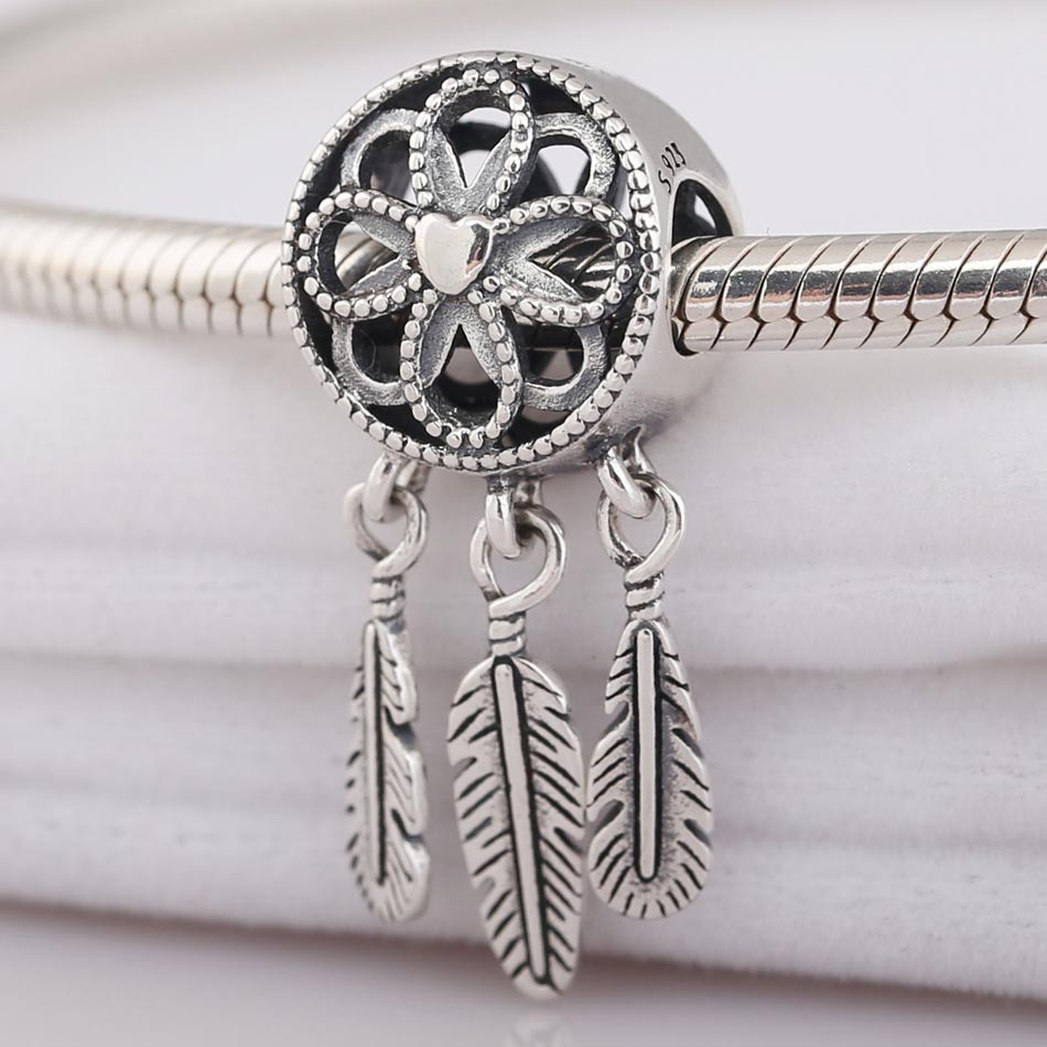 Neue Liebe Herz Feder Spirituelle Dreamcatcher Anhänger Perlen Fit Pandora Armband Diy Schmuck 925 Sterling Silber Perle Charme
