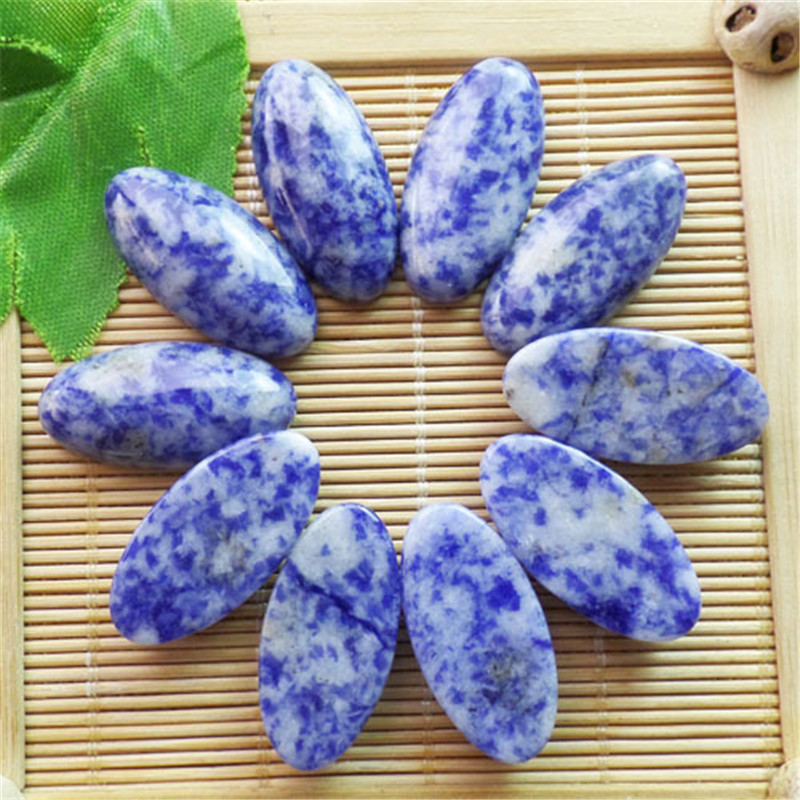 (10 pieces/lot) Wholesale Natural Sodalite CAB CABOCHON 30x15x6mm Free Shipping Fashion Jewelry ZY3374