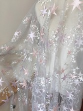 5 yards Exquisite Soft Gray Tulle Lace Fabric ,Pink Purple Star Floral Embroidery Metallic Bridal Gown 140cm wide