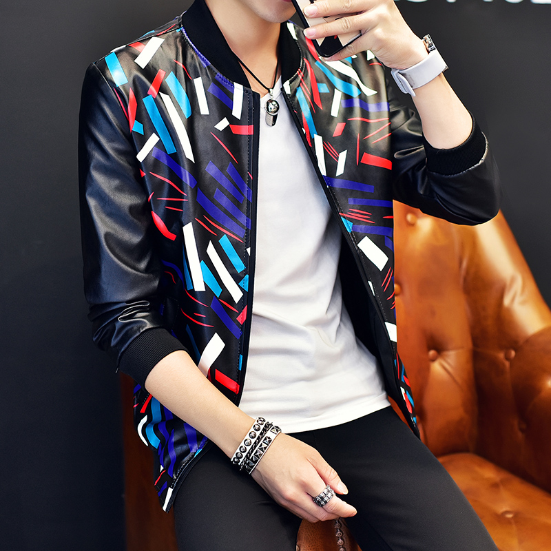 New Fashion Pu Leather Jacket Men Black Red Brown Solid Mens Faux Fur Coats Trend Slim Fit Youth Motorcycle Suede Jacket Male,