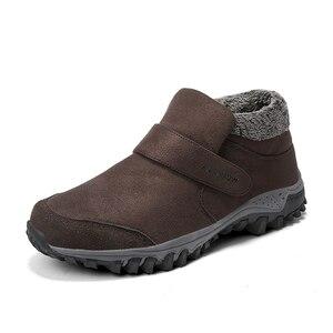 Image 2 - Stivali inverno caldo scarpe da Uomo di stile Russo di trasporto stivali da neve Della Caviglia per gli uomini in pelle scamosciata delle donne stivali di pelle con pelliccia di inverno scarpe stivali da uomo