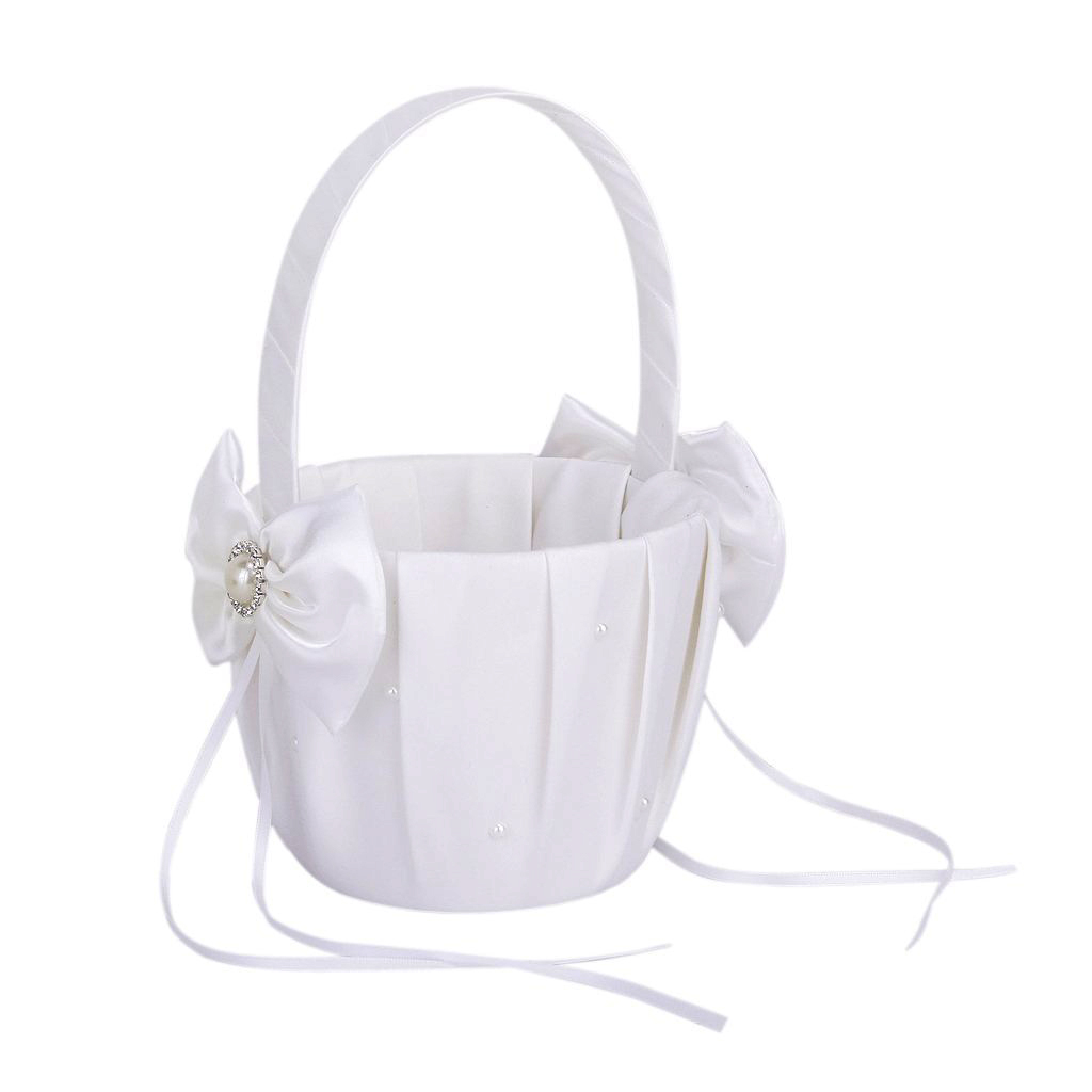 2 Pcs Flower Girl Basket Ivory And White Wedding Bowknot Artificial