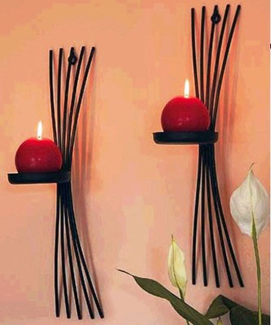 2pcs/pack Vintage casting metal candle holders wall candle stand ...