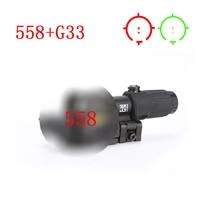 Охота прицел 558 + G33 Голографическая Красный Зеленая точка прицел 3x лупа для 20 мм железнодорожных крепления Tan черный, красный Цвет