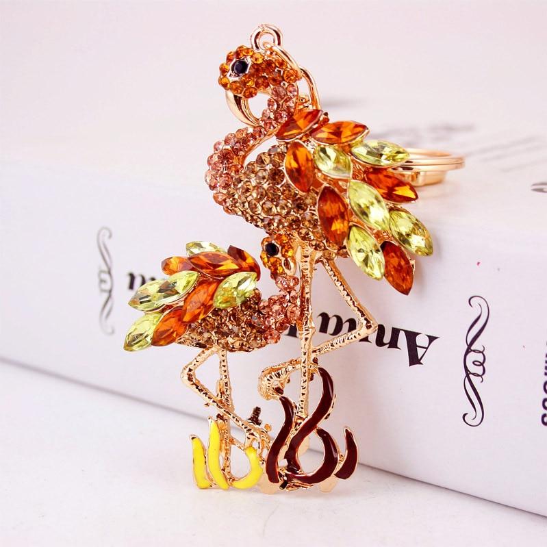 Zarte Doppel Flamingo Vogel Schlüsselanhänger Ringe Halter Für - Modeschmuck - Foto 5