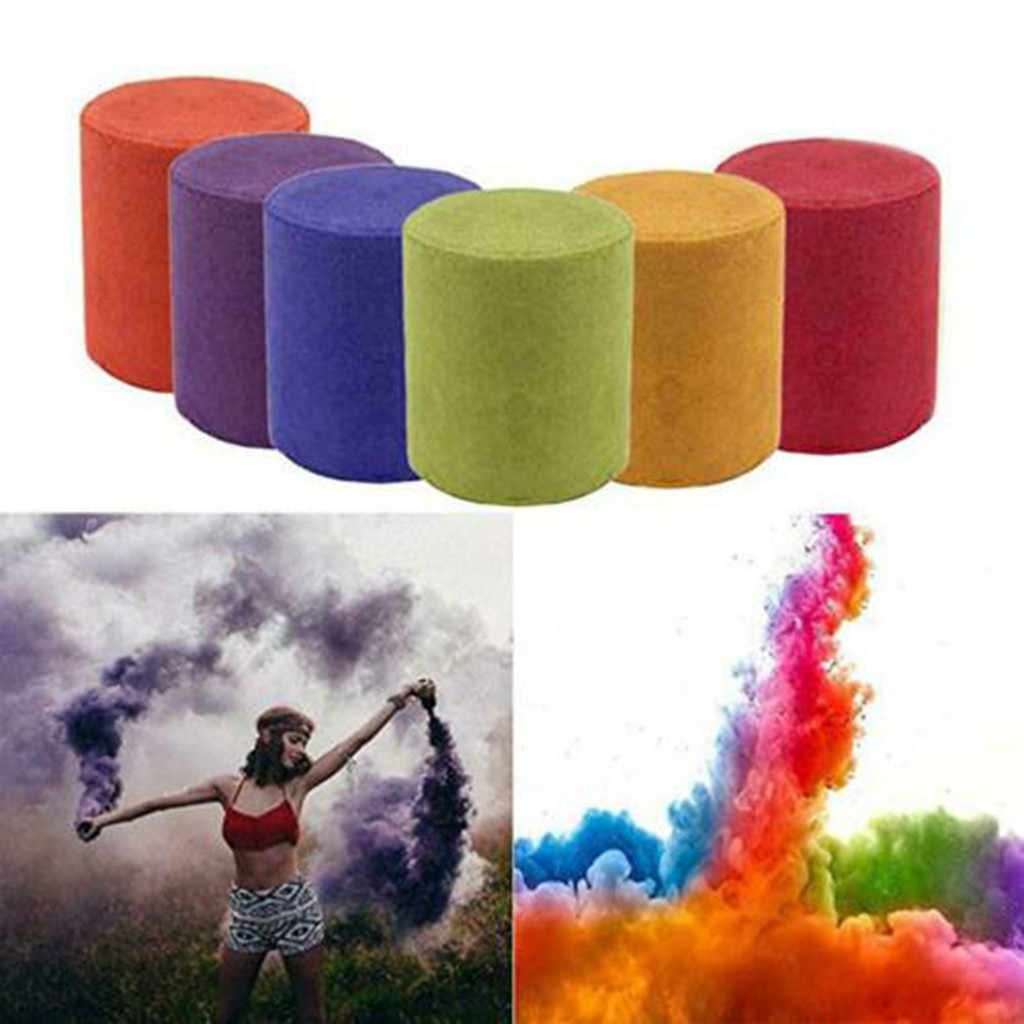 1/6pcs Smoke Cake Colorful Smoke Effect Show Round Bomb Stage Photography Aid burning 1 minute high quality Smoke Cake