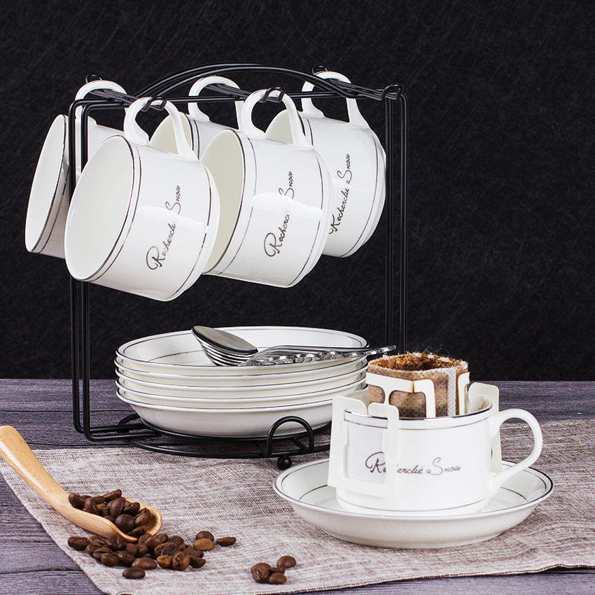 High quality bone china coffee cup Set Bone ceramic tea cup set Afternoon tea party creative coffee tea cups home office decor