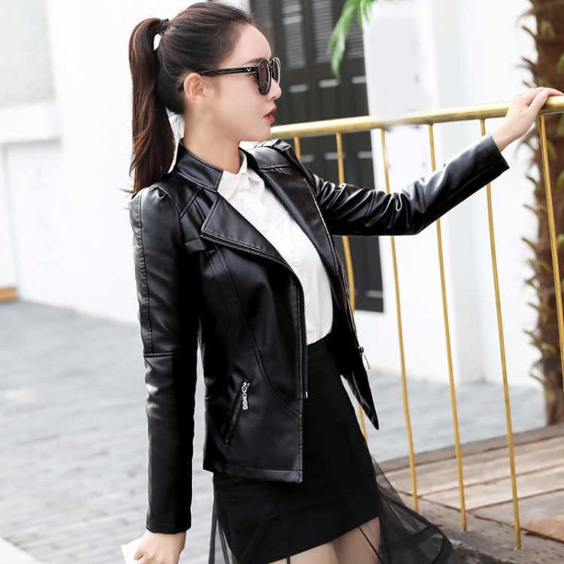 Women Jacket Black Party Summer Faux   Leather   Coat Lapel Casual Fashion Zipper Coat