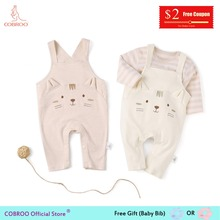 COBROO Newborn Baby Girl Overalls Children Clothes Cute Kitty Cat Pattern Cotton Unisex Brown 0-24 Months NY520019