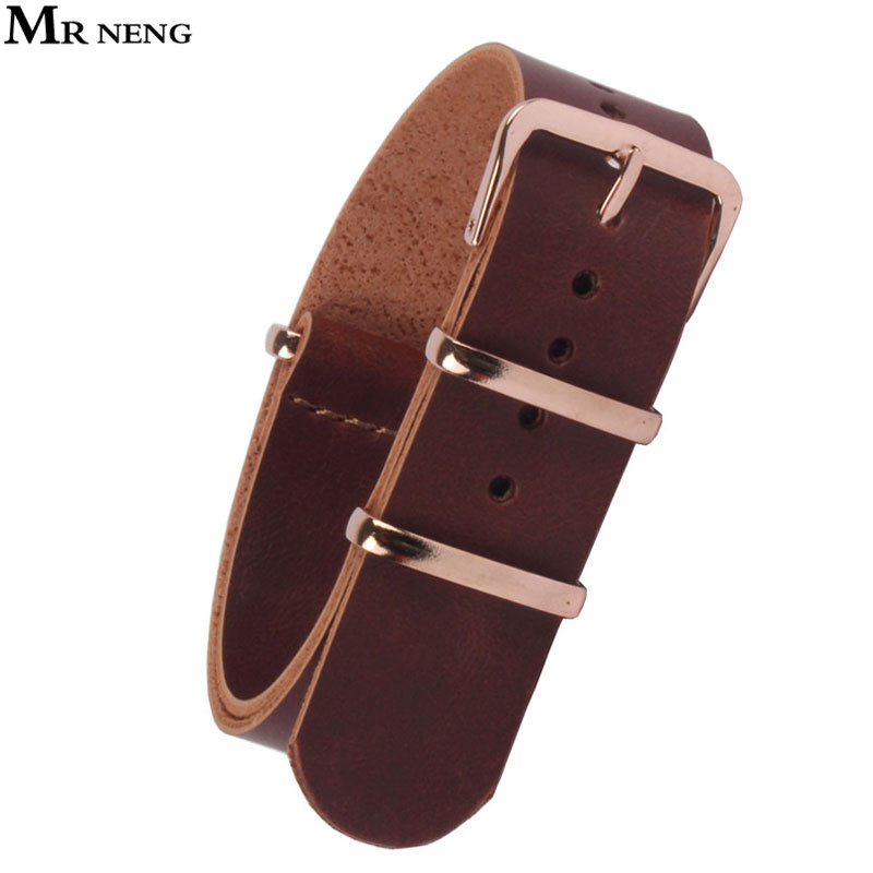 MR NENG 18 20 mm 22mm NATO Brown Resin PU Leather Watchbands Men Women Casual Watches Straps Leather Wristwatch Band 18mm Belts