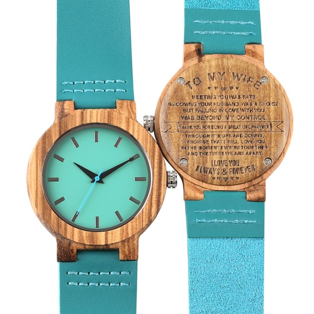 Bamboo Wooden Watch Quartz Analog Couple Watches Leather Band Casual Unisex Lightweight Valentine's Day Gift reloj para pareja 3