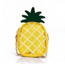 227d944c71dc0 Obst Frauen Transparent Tasche PVC Gelee Mini Mädchen Messenger Taschen  Gelb Ananas Form Schulter Tasche mit Kette Frauen Berühm.