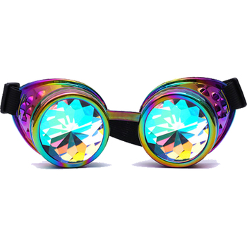 Steampunk Goggles Kaleidoscope Rainbow Crystal Lenses Cosplay Vintage Glasses Welding Men Women Gothic Cool Eyewear 2